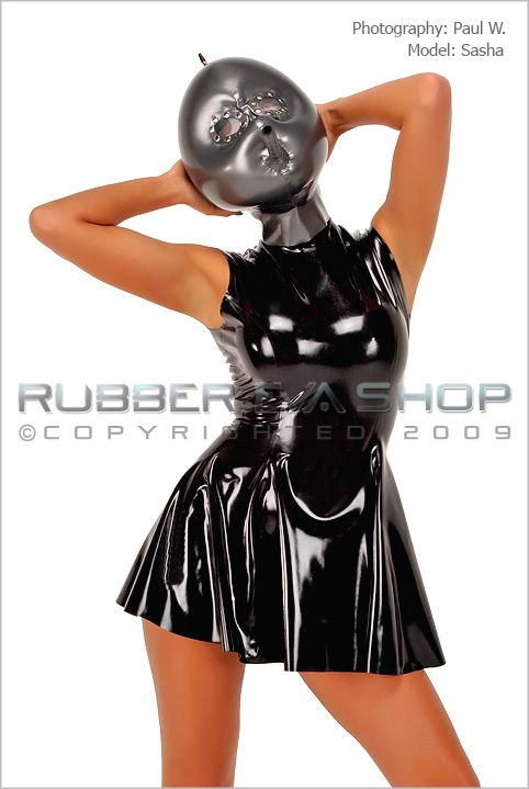 Inflatable Rubber Hood With Studded Lens Eyes