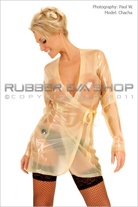 Short Rubber Wrap Dressing Gown