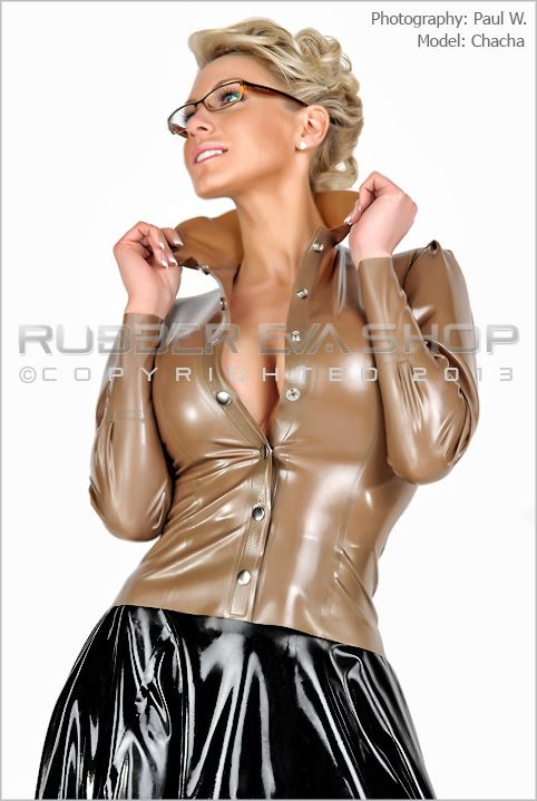 Fitted Puff Sleeved Latex Blouse
