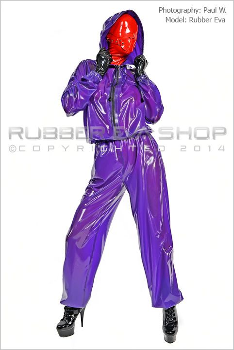 Hooded Latex Jogging Suit With Hood Flap