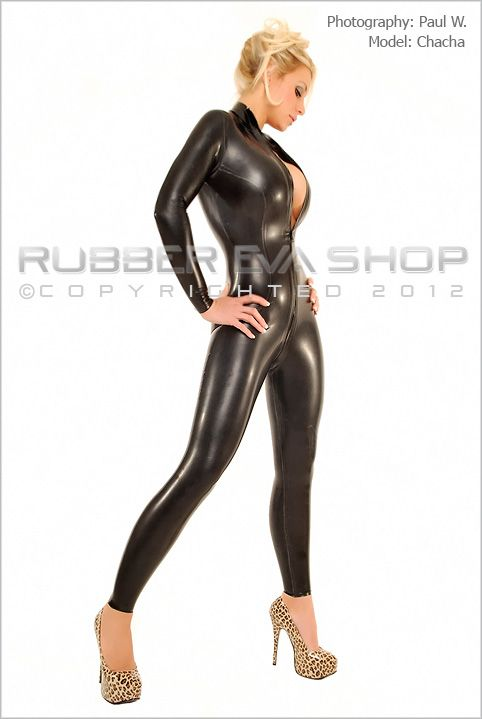 Chlorinated Front Zip Rubber Catsuit