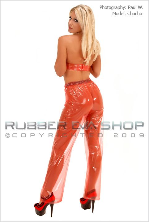 Elasticated Straight Cut Plastic Trousers
