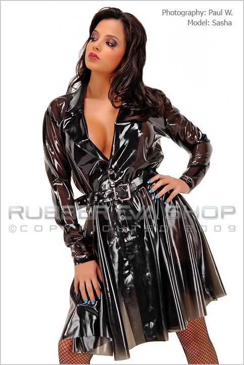 Flared Rubber Dress Coat