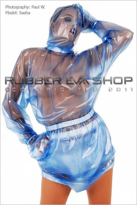 Hooded Plastic Bondage Romper Suit