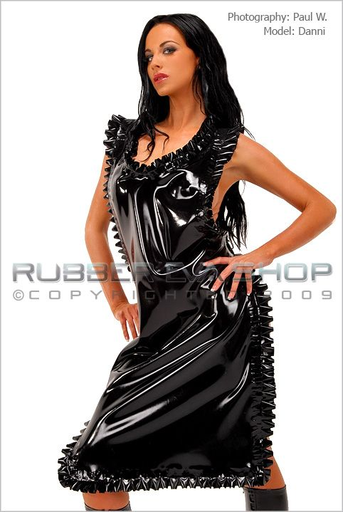 Long Frilly Rubber Apron