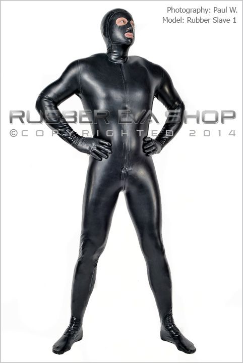 Mens Hooded Rubber Total Enclosure Catsuit