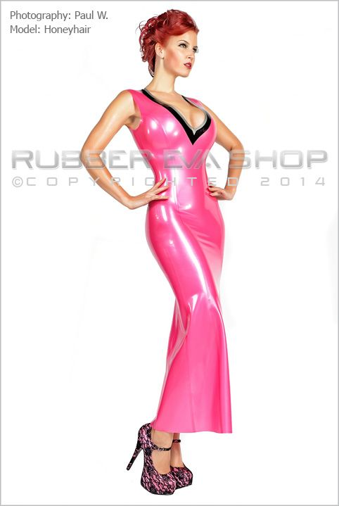 Long Rubber Ball Gown With Plunging Cleavage