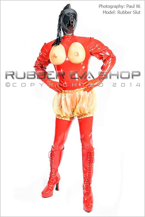 Puffed Sleeved Mens Rubber Titty Cup Catsuit