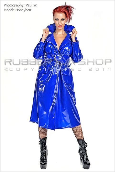 Long Plastic Raincoat With Wide Belt
