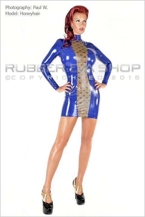 Laced Latex Panel Mini Dress