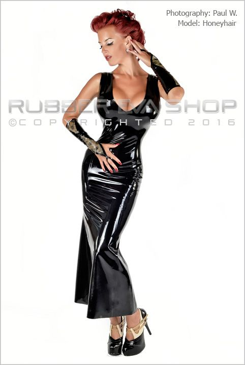 Laced Latex Long Rubber Ball Gown