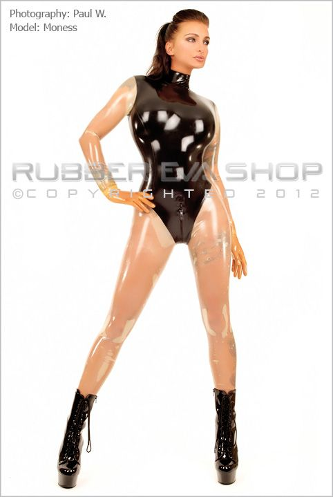 Two Tone Leotard Rubber Catsuit