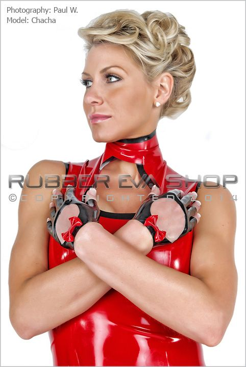 Fingerless Rubber Wrist Gloves With Bow