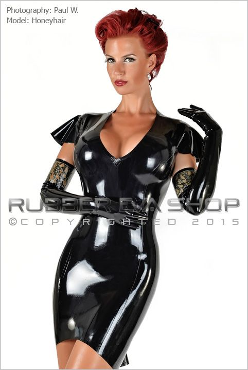 Frilled Capped Sleeve Rubber Dress