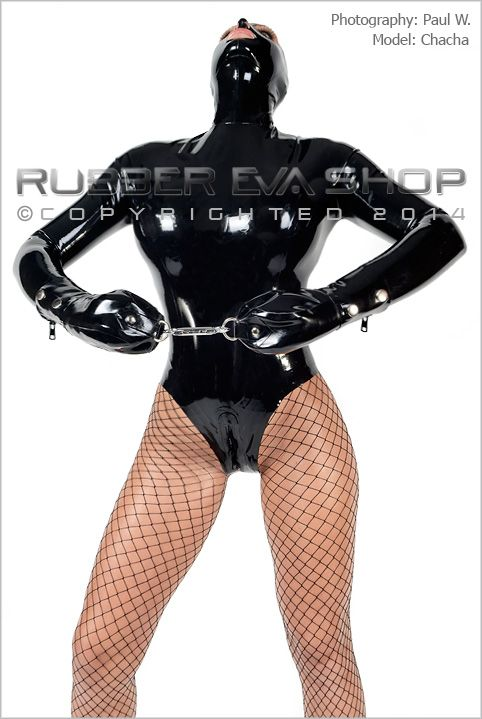Hooded Rubber Bondage Leotard With Mitts