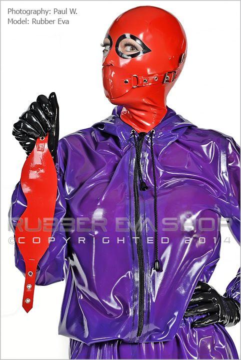 Rubber Bondage Hood With Gag & Blindfold