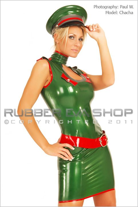 Short Rubber Keyhole Military Dress