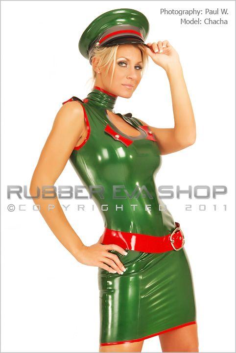 Short Rubber Keyhole Military Dress