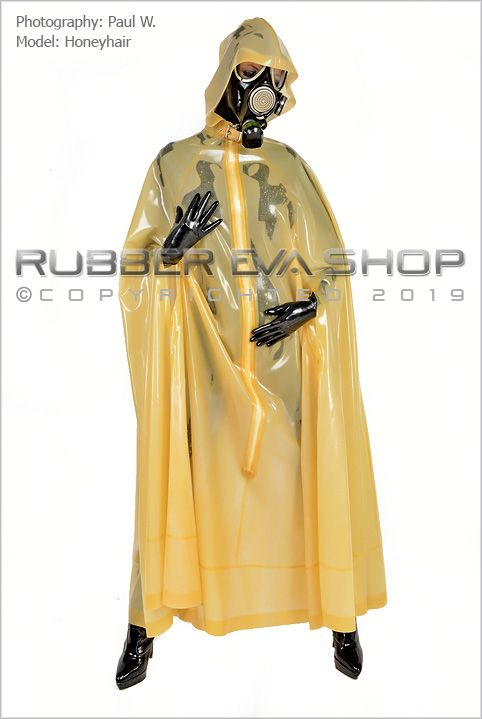Hooded Long Flared Latex Cape