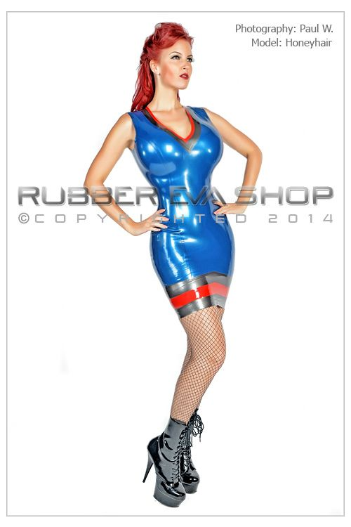 Madame Chevron Latex Dress