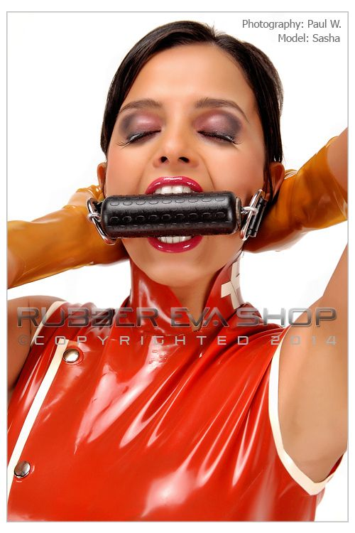 Solid Rubber Bit Gag With Leather Straps
