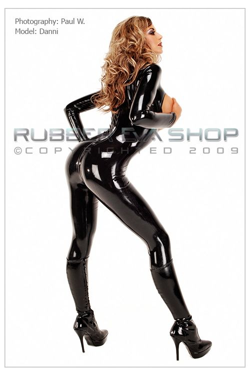 Open Bust Rubber Catsuit