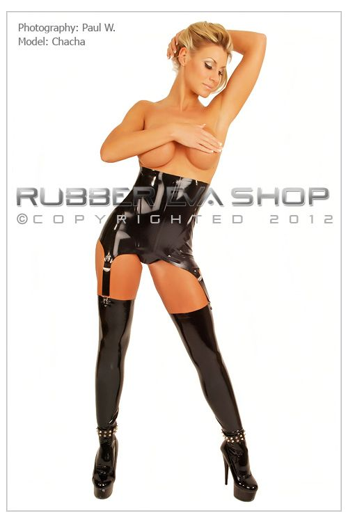 Boned Rubber Girdle With Suspender Straps