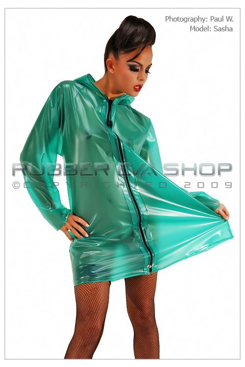 Short Hooded Zip Front Plastic Mac
