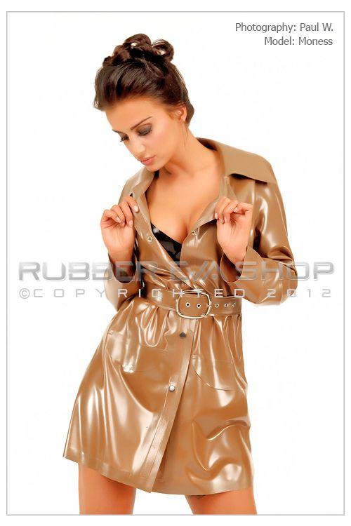 Metallic Beige Rubber Trench Coat