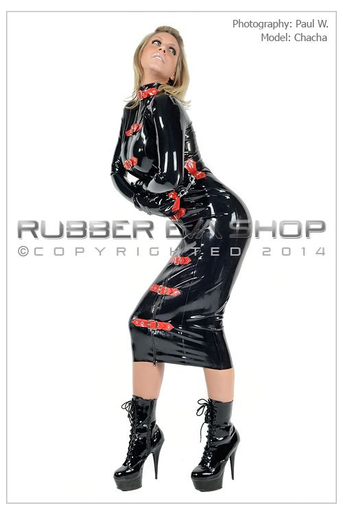 Buckled Rubber Bondage Dress With Mitts