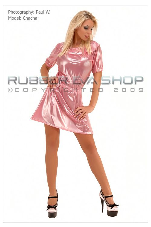 Frill Neck Plastic Mini Dress