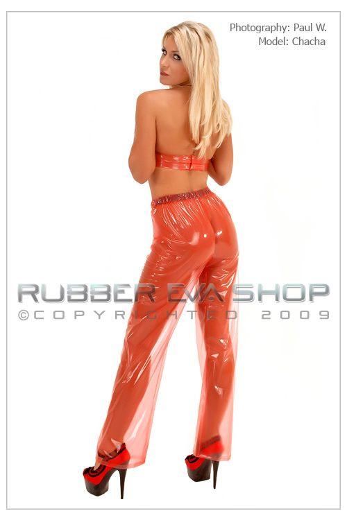 Elasticated Straight Cut Plastic Trousers