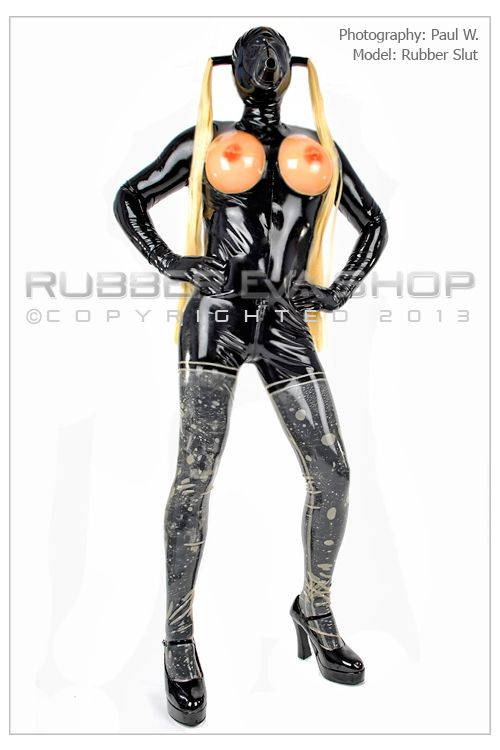 Mens Rubber Titty Cup Catsuit