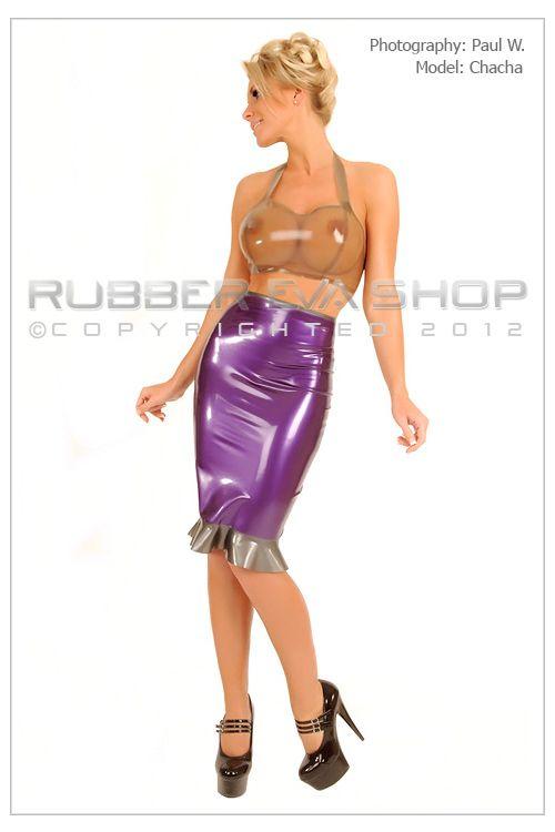 Knee Length Rubber Cocktail Skirt