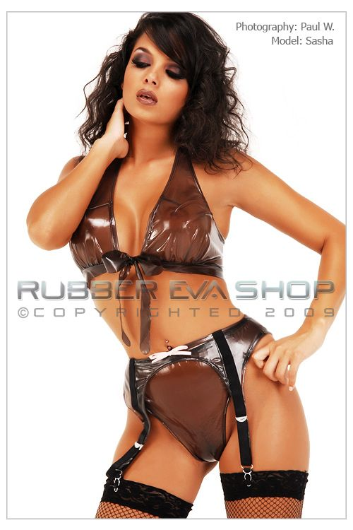 PVC Tie Front Bra, Thong and Suspender Set