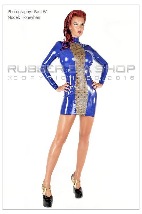 Laced Latex Panel Mini Dress
