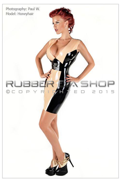 Plunge Neck Rubber Buckle Dress