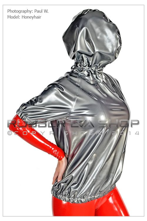 Short Sleeved Hooded Rubber Breathplay Top