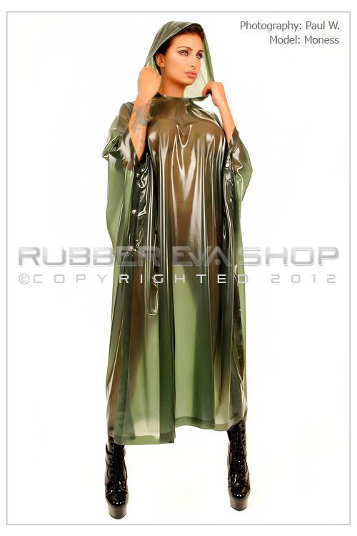 Long Hooded Rubber Poncho