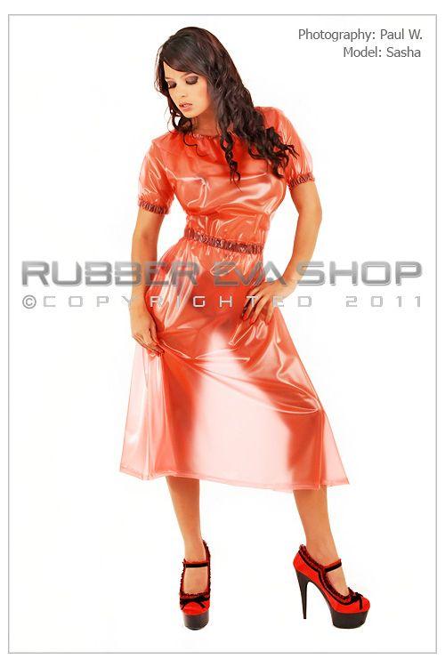 Long Frill Neck Plastic Dress