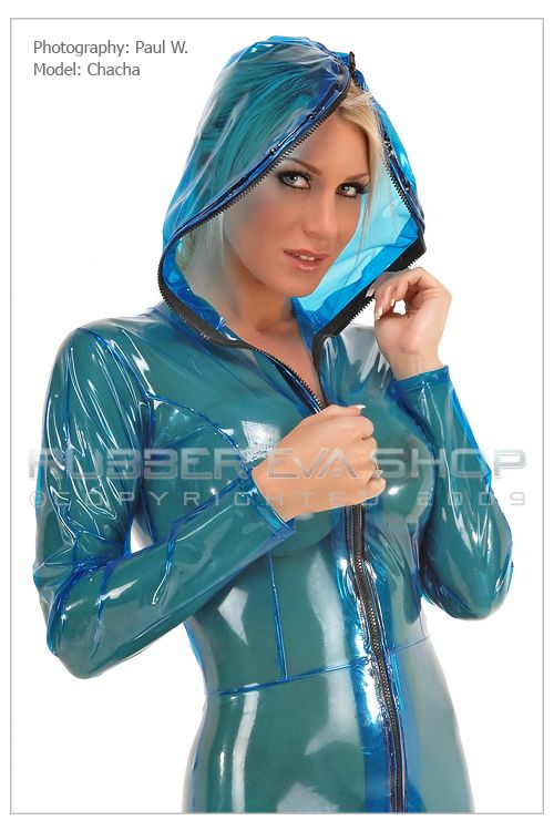Hooded Plastic Enclosure Catsuit