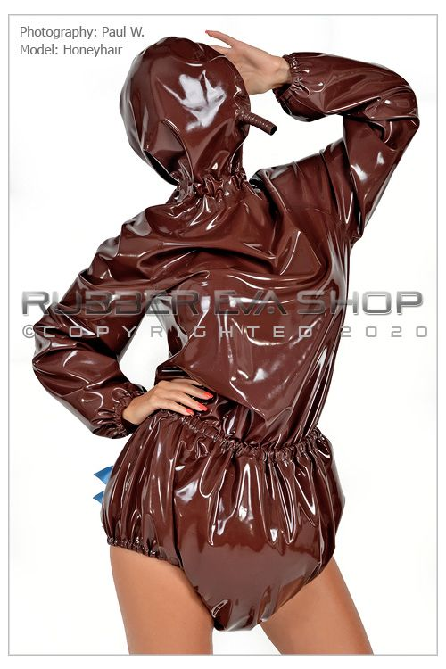 Hooded Frilly Rubber Romper Suit